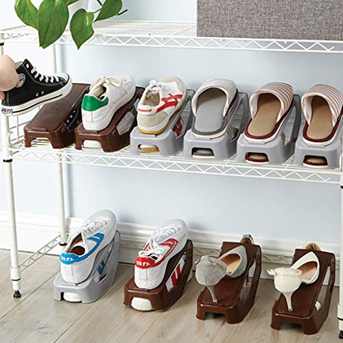 Nesee Shoe Slots Space Saver,Double Layer Plastic Space Saver Holder Shoes Box Organizer Storage (Brown)