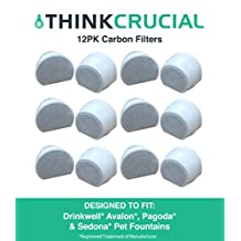 12 Drinkwell Carbon Filters Fit Avalon, Pagoda & Sedona Pet Fountains, Designed & Engineered by Think Crucial