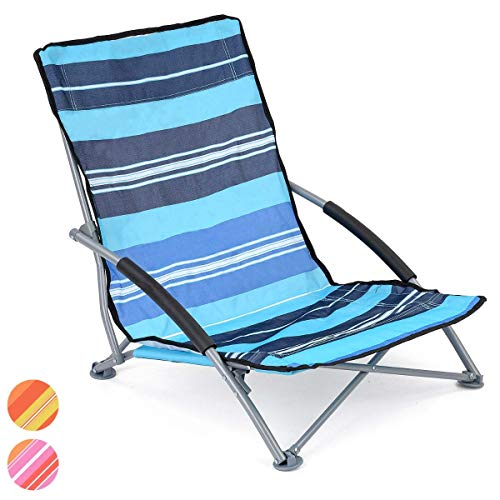 Low Slung Folding Chair, Outdoor Camping Beach Garden, Lightweight Portable, Padded Armrests, Carry Bag, Seat Sits 8cm…