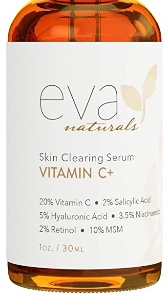 Eva Naturals Vitamin C Serum Plus 2% Retinol, 3.5% Niacinamide, 5% Hyaluronic Acid, 2% Salicylic Acid, 10% MSM, 20% Vitamin C - Skin Clearing Serum - Anti-Aging Skin Repair, Face Serum (1 oz)