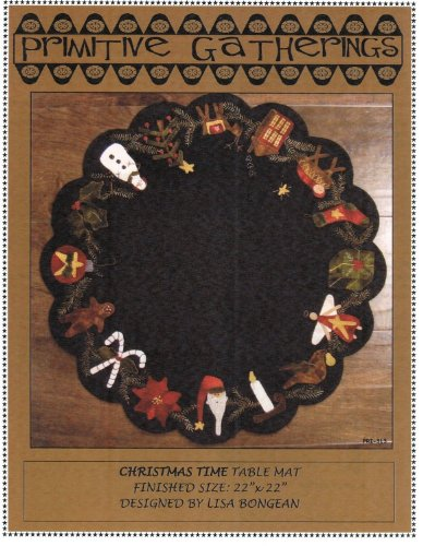 """UPC 764966341880, Christmas Time Table Mat Felted Wool Pattern 22"""" Round Penny Rug Primitive St. Nick Reindeer"""