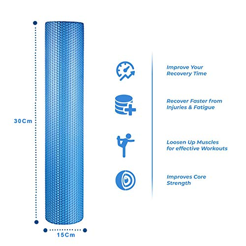 spinway Yoga Foam Roller Speckled Foam Rollers for Muscles Extra Firm High Density for Physical Therapy Exercise Deep Tissue Muscle Massage (Blue) by spinway (Image #8)