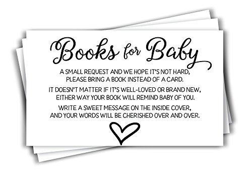 Book Shower - 50 Gender Neutral Baby Shower Book Insert Request Cards (50-Cards)