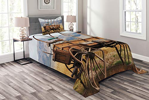 (Ambesonne Western Bedspread Set Twin Size, Photo of Old Nostalgic Wild West American Cart Carriage in The Farm Texas Style, Decorative Quilted 2 Piece Coverlet Set with Pillow Sham, Brown Yellow)