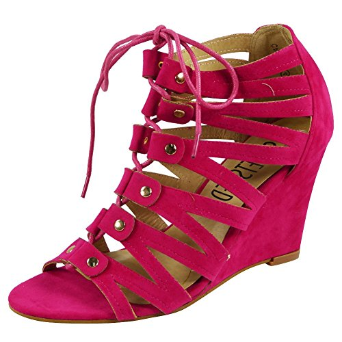 New Womens Ladies Ankle Strap Lace Up High Wedge Heel Peeptoe Shoes Sandals Size 3-8 Fuchsia