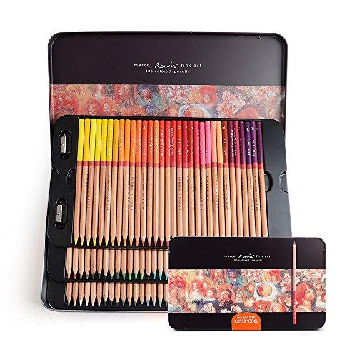 MAZIMARK--Marco Renoir Fine Art 100 Colors Colored Pencil Oil Base Non-toxic Pencils+ Gift