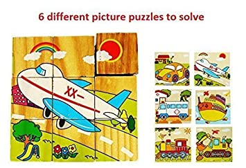 Mayatras Early Age 6 in 1 Wood Block Puzzles for Small Kids. (Vehicles Theme)