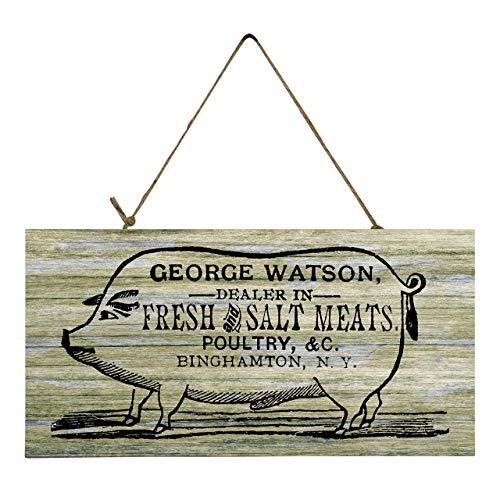 George Watson Pig Farmhouse Printed Handmade Wood Sign