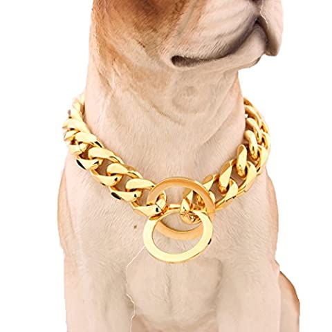 Designer Dog Collar 15mm Gold Cuban Slip Chain Cool Best For Large Dogs: Pitbull, Doberman, Bulldog, Rottweiler&More (Gold Chain For Dog)
