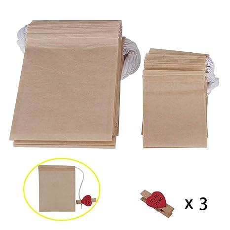 Benail 300 bolsas de papel para filtro de té con cordón desechable papel bolsas de té sin blanquear bolsa de papel vacío con 3 clips como bono