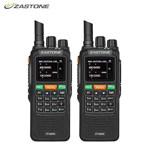 Gps Transceiver - Zastone 889G Walkie Talkies 2 Pack Dual Band Two Way Radio Long Range 10W 999CH 3000mAh UHF/VHF GPS Ham Radio