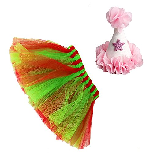 Mixed Colors Dog Tutu Skirt Birthday Outfit Kit with Cute Glitter Cone Hart Halloween Costume (Large, Green Red)]()