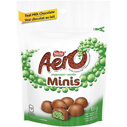 (AERO Peppermint Bubbles Milk Chocolate Minis, 135g Pouch {Imported from Canada} )