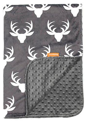 Dear Baby Gear Deluxe Baby Blankets, Custom Minky Print White Antlers, Grey Minky Dot (Tumble Play Blanket Woodland)