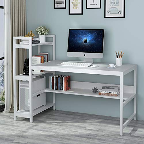 Tribesigns Computer Desk with 4-Tier Storage Shelves, 60 inch Modern Large Office Desk Computer Table Studying Writing Desk Workstation with Bookshelf and Tower Shelf for Home Office(White)