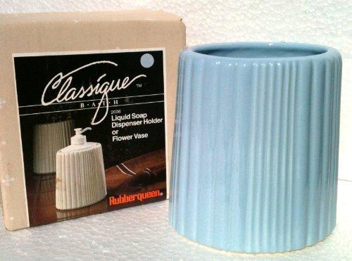 Kitchen Classique (1960's Vintage Ceramic LIQUID SOAP DISPENSER HOLDER or FLOWER VASE Classique Bath RUBBER QUEEN (LIGHT BLUE))
