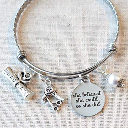 ssing Graduation Gift, SHE BELIEVED She Could So She Did Cosmetology Grad Gift Bracelet, Cosmetology Graduate Gift, Hair Dryer Stylist Gift ()