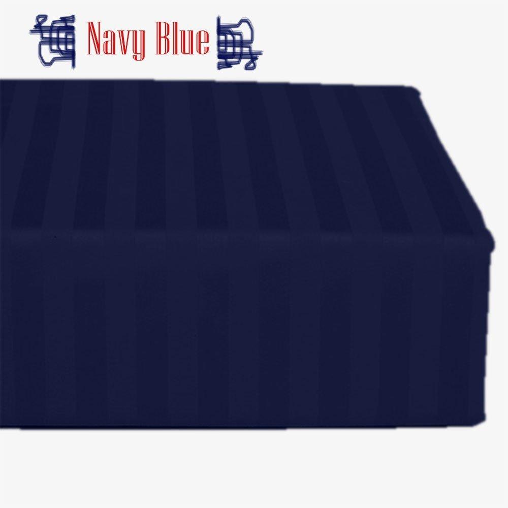 Rinku Linen Luxurious Finish 300 Thread Count 1-Piece Flat Sheet/Top Sheet Stripe Black Egyptian Cotton Full XL Size