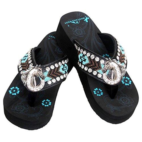c81059a88 Montana West Women s Hand Beaded Flip Flop Sandals