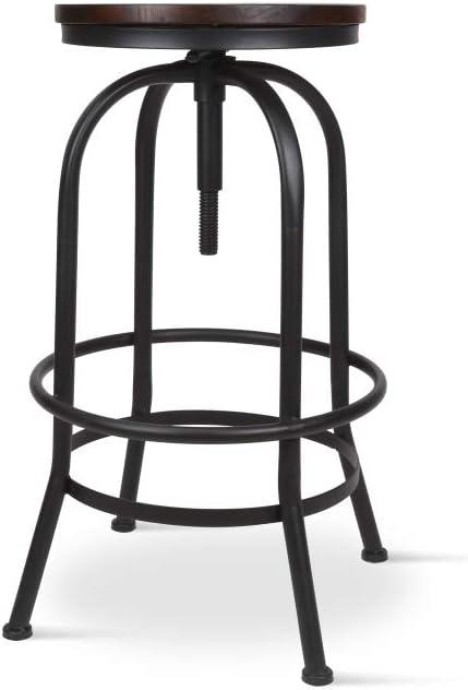 pour de bois bar mat hauteur et en foncéTabouret de métal noir à ajustablehauteur vis 65 Tabouret en à assise KOSMI 85cm réglable FTuK1cl3J