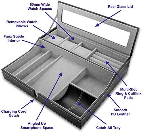 HOUNDSBAY Navigator Big Dresser Valet Tray for Men with Watch Box Jewelry Organizer & Angled Charging Station (Grey) by HOUNDSBAY (Image #1)
