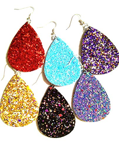 10 Pairs Petal Teardrop faux Leather Earrings - Lightweight Leaf Drop Earrings Gift Fit Woman Girls