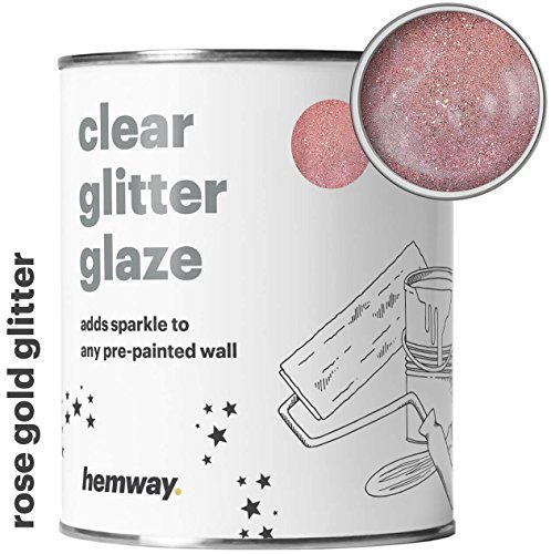 Hemway Clear Glitter Paint Glaze (Rose Gold) 1L/Quart for Pre-Painted Walls Acrylic, Latex, Emulsion, Ceiling, Wood, Varnish, Dead flat, Matte, Soft Sheen, Silk (CHOICE OF 25 GLITTER COLOURS) - Bedroom Paint