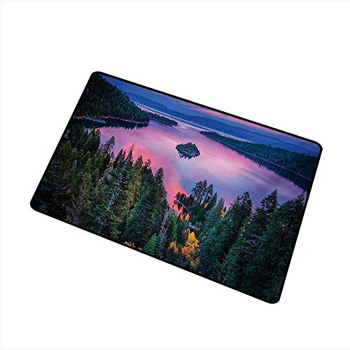 Thin Door mat Lake High Angle Majestic View of North American Freshwater Lake Outdoor Mother Earth Image W35 xL59 with Anti-Slip Support