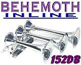 Behemoth-i Triple Trumpet Train Air Horn 152db Chrome Finish Inline Design Air Horns NIB