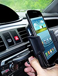 Mobile Cell Phone Car Mount 4 in1 Holder, Quality Invent- Safety Handsfree Multiple Adaptable Phone Mount Cradle Kit for Windshield, Dashboard, Air Vent, CD Slot