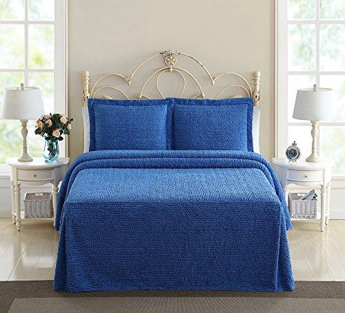 Ellison Richland Chenille Solid, Queen, Blue Bedspread (Queen Chenille Bedspread)