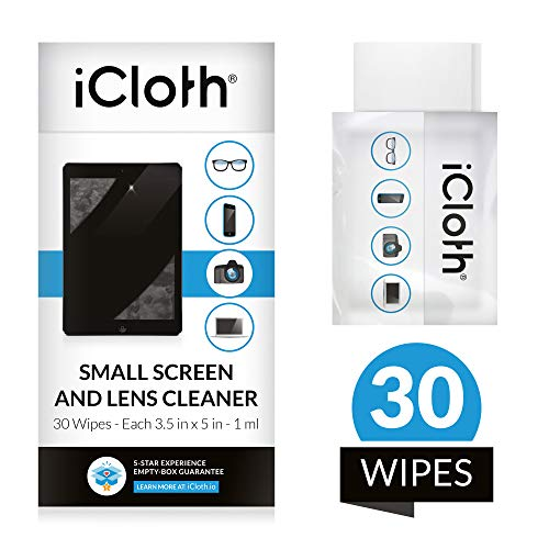 iCloth Lens and Screen Cleaner Pro-Grade Individually Wrapped Wet Wipes, Wipes for Cleaning Small Electronic Devices Like Smartphones and Tablets, Box of 30