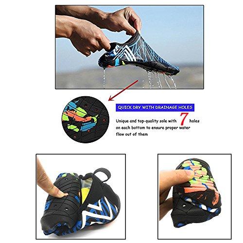 Everydlife Barfuß Quick Dry Wasser Schuhe für Männer, Aqua Socken Schwimmen Schuhe mit Drainage Löcher für Frauen Yoga Beach Blauer Drache
