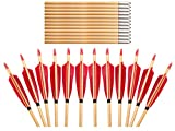 ArcheryMax 12 PK Handmade Red Turkey Feathers Wood Target Arrows With Bullet Tips