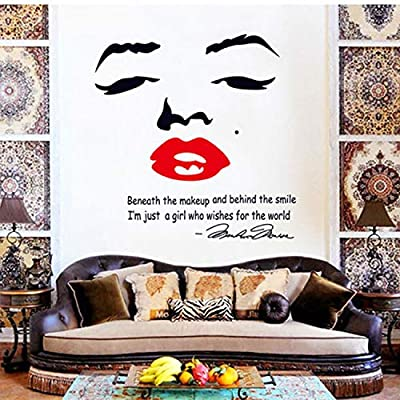 Marilyn Monroe Quote Red Lips Vinyl Wall Stickers Art Mural Home