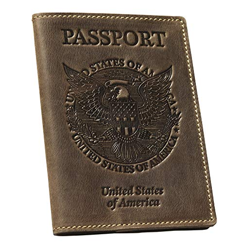 Leather Passport Holder Cover - Vintage US Passport Holder Case - Usa Passport Holder Leather Embossed