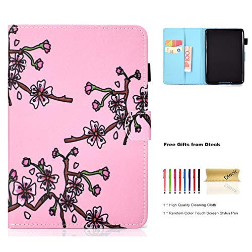 Dteck Kindle Paperwhite E-Reader Case, Slim Light PU Leather Smart Case Cover with [Stylus Pen] Pretty Nice Wallet Flip Folio Cover for Amazon Kindle Paperwhite 3/2/1-Plum Blossom (Light Blossom Three)