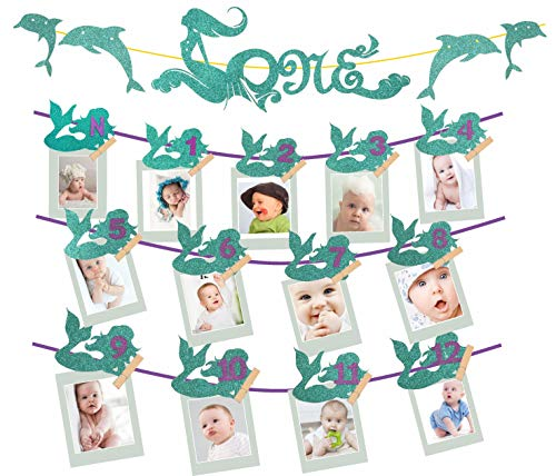 Personalized Photo Banner - MEANT2TOBE Purple Mermaid 1st Birthday Glitter Decorations Girl Monthly Milestone Photo Banner Newborn to 12 Months, Great 1 Year Old Celebration, 1-12 Month Numbering Photography (Photo Banner)