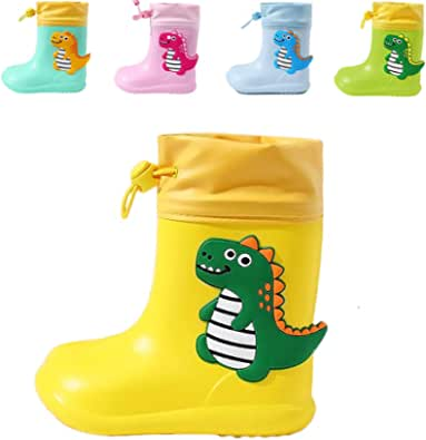 Botas de Agua para Niños y Niñas, Botas de Lluvia de Dinosaurio Impermeable y Antideslizant Yellow 22/23 EU