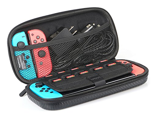 AmazonBasics Carrying Case for Nintendo Switch and Accessories – Black