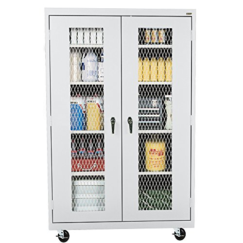 Sandusky Lee TA4M462472-05 Elite Series Expanded Metal Front Transport Mobile Cabinet, Dove (Ventilated Metal)