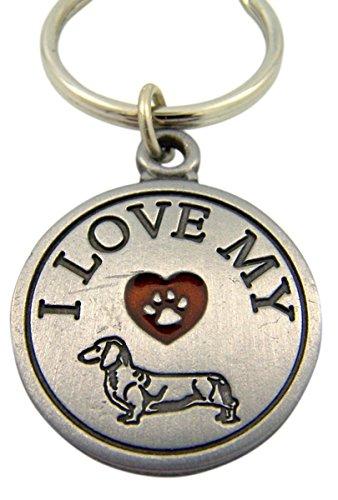 Fine Pewter I Love My Dachshund Saint Francis Medal Key Chain, 1 1/2 Inch