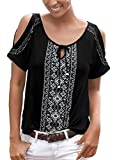 Chase Secret Womens Summer Ethnic Style Printed Tunic Top Bohemian Tie Front Loose Blouse Small Black