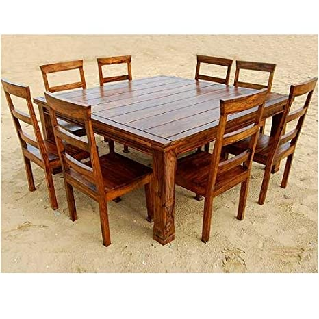 Amazon.com: Rustic 9 Pc Wood Square Dining Room Table Set Furniture:  Kitchen U0026 Dining