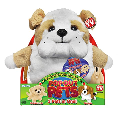 Pop Out Pets Dogs, Reversible Plush Toy, Get 3 Stuffed Anima