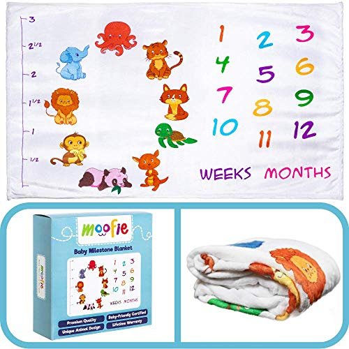 Baby Monthly Milestone Blanket for Girl or Boy | Photography Backdrop for Newborn Infants First Year Photo | Large Premium Baby Blanket | Extra Plush and Soft
