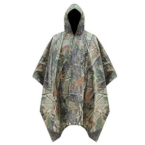 (WarmHeaven Heavy Duty Rain Poncho Jacket with Hood Adult Women Men Large Waterproof Raincoat Breathable Camo)
