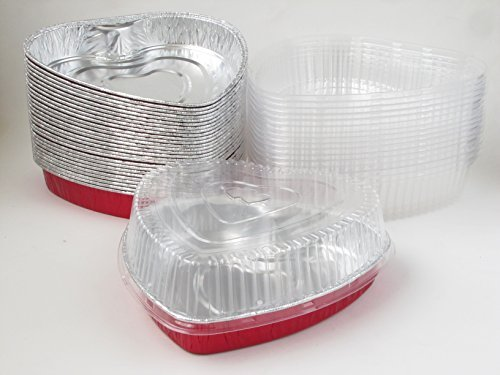 Disposable Aluminum Heart Shaped Baking/Cake Pan with Clear Plastic Lid (25)