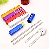 Babyfirstshop 3 In 1 Stainless Steel Portable Travel Chopsticks Spoon Fork Pen Shape Cutlery Set