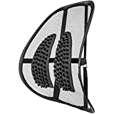 Bartka Comfortable Mesh Lumbar Support - Adjustable Breathable Seat Cushion - Orthopedic Lower Back Support - for All Office Chairs and Car Seats + Bonus Anti-Slip Car Mat
